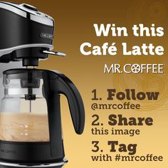 Would you love to win a Mr. Coffee® Café Latte? Follow us on Instagram, share this image on your own Instagram page, and tag the picture with #mrcoffee. We're giving away a brewer each week!