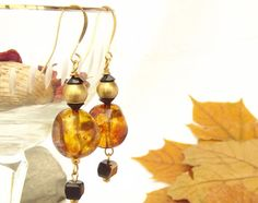 Gold plated Honey earrings Amber autumn Gift under 30 by LeeMarina, $29.00