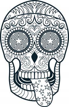 coloriage tête de mort, tête de mort, tête de mort étoiles,