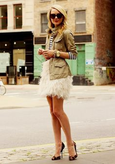 Feathers skirt, olive military jacket & nautical stripes shirt...great!