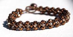 Caramel beaded flower bracelet, Czech Fire Polished, Swarovski Crystal, O beads, Mochachino, Hugs and Kisses, Dainty, Genuine Pearl by seedbeadsofchange on Etsy