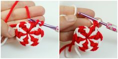 These would make cute ornaments for the tree, either singly or strung together.   peppermint candies crochet how to