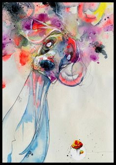 """Dog Art Print - Dog Wall Art - Print of Original Watercolor Painting - Mixed Media Art - """"Color Outside Your Lines"""" by Black Ink Art by BlackInkArtz on Etsy https://www.etsy.com/listing/171651392/dog-art-print-dog-wall-art-print-of"""