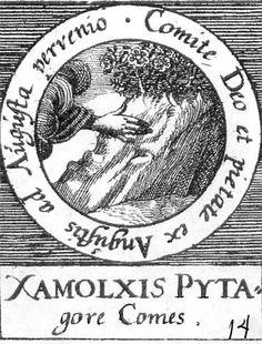 ALQUIMIA VERDADERA: Emblema 14. Zalmoxis, compañero de PitágorasAcompañado por Dios y la piedad, llegó desde los grandes apuros hasta la gloria.