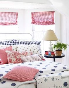 Classy and sassy red, white, and blue bedroom decor. Plus polka dots. Girls Bedroom, Guest Bedrooms, Bedroom Decor, Guest Room, Blue Bedrooms, Summer Bedroom, Bedroom Ideas, Cozy Bedroom, Girl Room