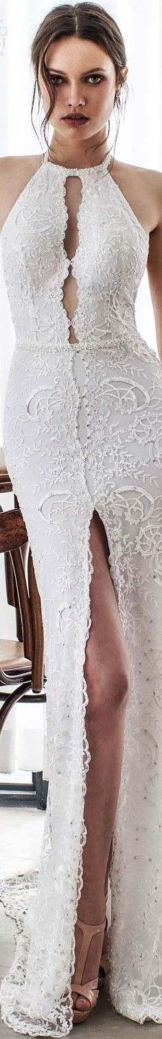 Asaf Dadush 2017 bridal sleeveless jewel halter keyhole neckline full embellishment high slit elegant sheath wedding dress open back chapel train