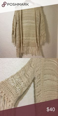 LF Knitted Sweater LF. Millau. Creame colored knited sweater with fringe. Size Small. LF Sweaters Cardigans