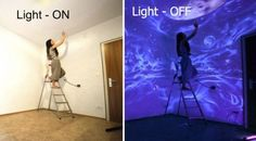 If you've ever wanted a really unique bedroom, you need to check out these amazing glowing murals from Hungarian artist Bogi Fabian. Using UV paints, all or at least the majority of the design is usually invisible when the lights are on. It's only when you switch off the lights or turn on a black light that these ethereal images become visible. Check it out!