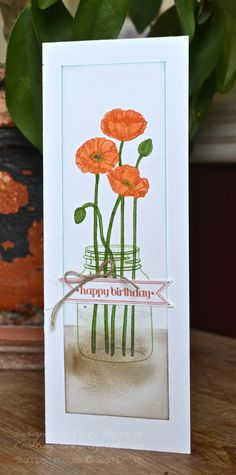 Tall thin card made with Pleasant Poppies from Stampin' Up byVickyHayes