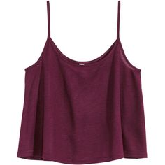 H&M Short jersey top ($5.69) ❤ liked on Polyvore featuring tops, crop tops, shirts, tank tops, plum, h&m, short tops, crop shirts, purple top and plum shirt