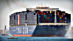The world's largest container ship, the CMA CGM Jules Verne which is sailing under the French flag, can carry 16,000 containers. It arrived in the port of Marseille on Monday.