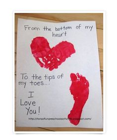 Awwww... this is an adorable hand made card filled with love from your little one (idea by The Play Room Mom.me)