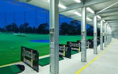 The golf driving range includes 56 floodlit hitting bays over 2 levels.