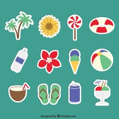 Summer stickers Vector | Free Download