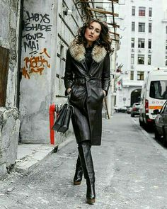 Long Leather Coat, High Leather Boots, Leather Trench Coat, Leather Jacket, Leather Gloves, Grey Fashion, Leather Fashion, Fashion Boots, Womens Fashion