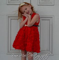 The Olivia  Red flower girl dress christmas by KonaMaliCreations