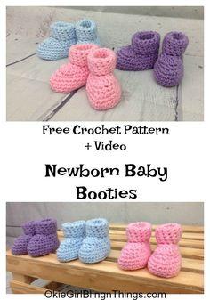 Easy Newborn Baby Booties Crochet Pattern Crochet Crochet baby - DIY and crafts Booties Crochet, Crochet Baby Socks, Crochet Baby Clothes, Crochet Shoes, Crochet Slippers, Baby Blanket Crochet, Crochet For Kids, Baby Knitting, Free Knitting
