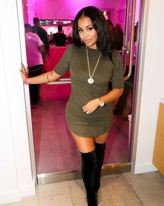 The dress and those boots. Night Outfits, Winter Outfits, Casual Outfits, Cute Outfits, Lauren London Nipsey Hussle, Meagan Good, Cool Short Hairstyles, London Outfit, Black Girl Fashion