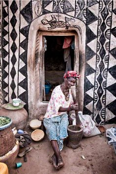 """""""The daily grind""""  Traditional painted house in Kassena, Burkina Faso. By Louis Montrose."""
