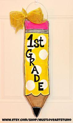 Teacher Appreciation Pencil Burlap Door Hanger Decoration HUGE - Polka Dots Back to School Vertical