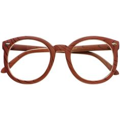 cf6476d8d61 Large Oversized Clear Lens Round Wood Like Eyeglasses Frames R2300 ( 9.95)  ❤ liked on