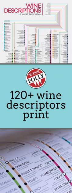 Buy a beautiful poster of the 'Guide to 120 Wine Descriptors' infographic by Wine Folly. Check out over 120 different wine descriptions and what they say about a wine. Wine Tasting Near Me, Wine Tasting Notes, Gifts For Wine Lovers, Wine Gifts, Wine Descriptions, Wine Coolers Drinks, Wine Folly, Sangria Wine, Pinot Noir Wine