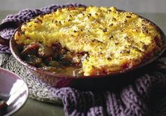 Lamb and eggplant pie with polenta crust