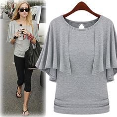Korea Style Grey Knitting Pleated Half-Sleeve Women's T-shirt
