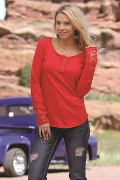 Red Henley by CRUEL GIRL - Cotton jersey henley with crochet detail on sleeves