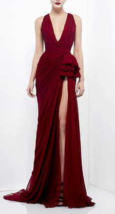 burgundy gown / zuhair murad...definitely gotta have great legs to wear this gorgeous dress!
