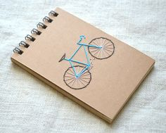 Bike Mini Notepad - Spiral Reporter's Notebook - Embroidered Jotter