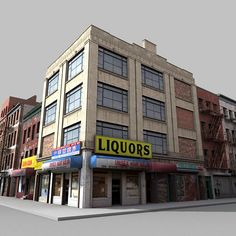 Model available on Turbo Squid, the world's leading provider of digital models for visualization, films, television, and games. 3d Building Models, Train Info, City Block, Union Station, Urban Sketching, Store Fronts, Model Trains, City Life, Cgi