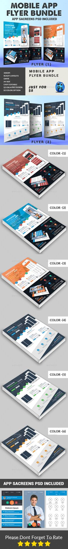 Mobile App Flyers Template v3 Flyer template and Mobile app - resume template app