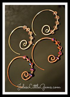 Silver plated and copper wire wrapped earrings