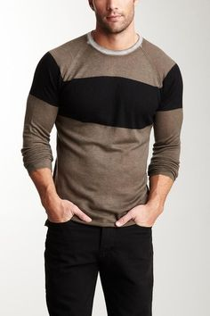 Crew Neck by James Perse Sharp Dressed Man, Well Dressed Men, Looks Style, My Style, Style Men, Mens Trends, Camisa Polo, Striped Long Sleeve Shirt, Men's Fashion