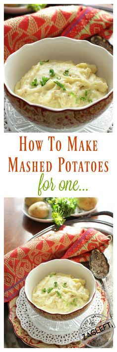 Creamy Homemade Mashed Potatoes For One – two Gold potatoes cooked in garlic-infused milk and cream, mashed and blended with butter, a touch of olive oil, and tangy stone-ground mustard. An absolutely delicious single serving side dish.