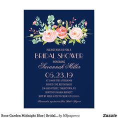 Rose Garden Midnight Blue | Bridal Shower Card This Bridal Shower Invitation features lovely watercolored flowers. Send your guests an invite they won't forget! All text and background color is completely customizable. Select a die-cut shape or textured paper for an extra special touch! Visit the shop to see more like this!