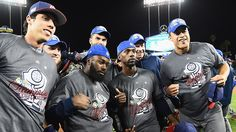 Players on team United States celebrate their win against Puerto Rico during Game 3 of the Championship Round of the 2017 World Baseball Classic at Dodger Stadium on March 2017 in Los Angeles, California. Baseball Tournament, Rico Vs, World Baseball Classic, Pittsburgh Pirates Baseball, Christian Yelich, Usa Pictures, Giancarlo Stanton, Dodger Stadium