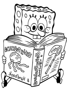 Reading Spongebob Coloring Page