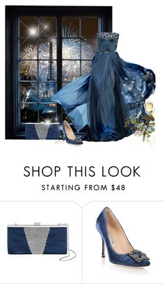 """New Year's Eve In Paris"" by itsablingthing ❤ liked on Polyvore featuring Elie Saab, Gunne Sax By Jessica McClintock and Manolo Blahnik"