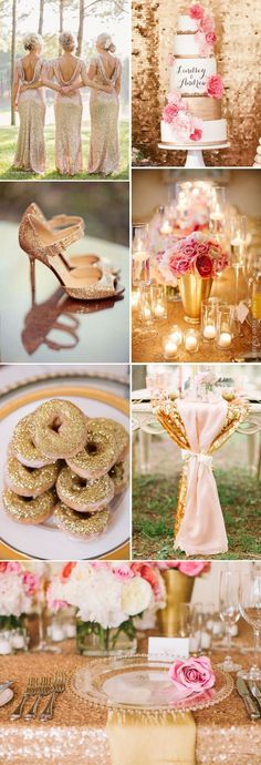 Chic glittery rose gold and pink wedding idea