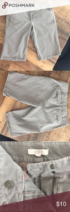 Ann Taylor LOFT shorts LOFT shorts. Size 6. Marisa fit. 97% cotton. 3% spandex. Smoke free and pet free home. Fatigue or army green color. Clasp Button and zipper all work. 19.25 inches from waist to hem. Rise is 11.5 inches. LOFT Shorts Bermudas