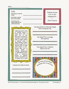Adventures in Guided Journaling: Printable Journal Page 1 by Christie Zimmer
