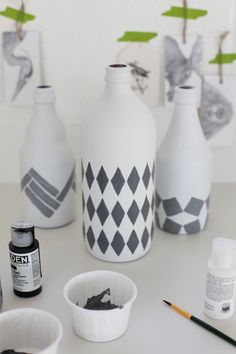 two colors and geometric shapes - painted vases
