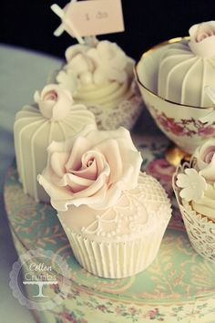 Vintage lace cupcake instead of a big fancy cake for showers, weddings, or anniversaries.
