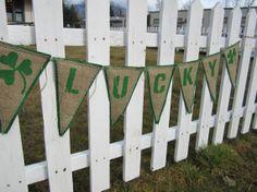 Burlap Banner LUCKY Green