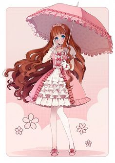 Tags: Anime, Izumi K Rukawa, Puffy Sleeves, White Handwear, Wavy Hair, Holding Umbrella, Pink Flower