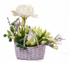 Kompozycja wiosenna tulipany z gąską