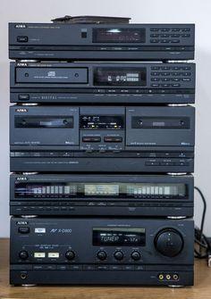 AIWA Components Home Stereo System. Hifi Stereo, Hifi Audio, Yamaha Hi Fi, Case Mods, Super Sons, Mini System, Audio Rack, Big Speakers, Audio Equipment