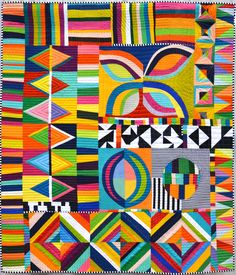 Sunday Best by Michelle Wilkie Sampler Quilts, Scrappy Quilts, Southwestern Quilts, Geometric Quilt, Medallion Quilt, String Quilts, Colorful Quilts, Contemporary Quilts, Fabric Scraps